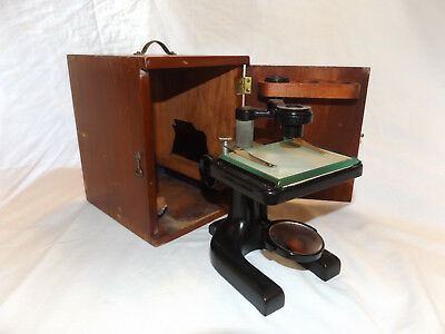 Vintage SPENCER BUFFALO DISECTING MICROSCOPE in Dovetailed Wood Box early 1900s