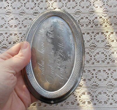 "RARE Vintage Antique 5.5"" Silverplate Coffin Plaque Tag Badge Casket Plate 1863"