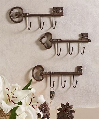 Cast Iron Antique Key Design Wall Hooks, Set Of 3 Assorted Designs