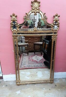 Very Elegant Antique Gilt Wood Mirror With Shell Cresting