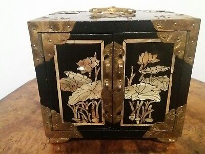 Very Ornate Chinese Japaned Jewelry / Trinket Box With Drawers And Brass Mounts