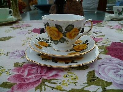 Lovely Vintage Royal Vale China Trio Tea Cup Saucer Plate Yellow Rose 7603