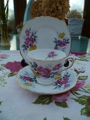 Lovely Vintage Royal Vale China Trio Tea Cup Saucer Plate Pink Yellow Rose 7515