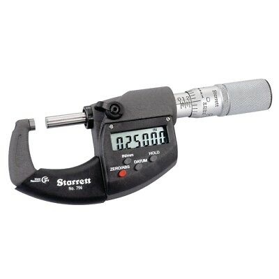 STARRETT Electronic Micrometer,1 In,IP67,Friction, 796.1XFL-1