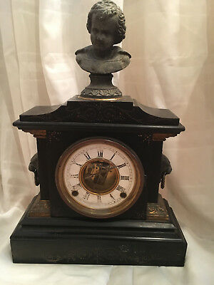 19th Century Directoire French Black Slate/marble Mantel Clock w. Brass Accents