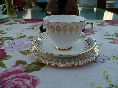 Lovely  Vintage Royal Vale China Trio Tea Cup Saucer Plate Gilded