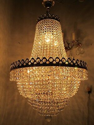 "Antique Vnt French Basket Real Swarovski Crystal Chandelier 1940's 19"" Ø dmt RRR"