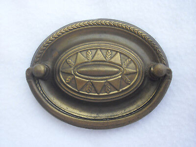 Vintage Large Brass Stamped Hepple White Style Oval Bail Drawer Furniture Pull