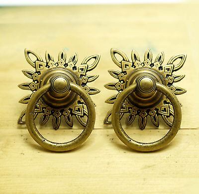 Set of 2 pcs Vintage Star Ornament Cabinet Brass Knob Drawer Handle Pulls