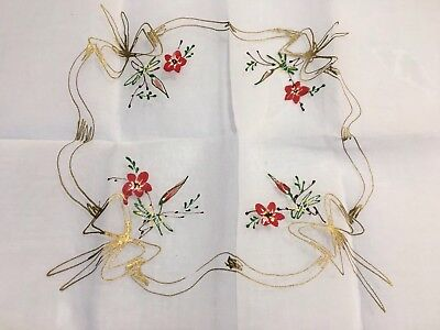 Organdy White Tablecloth France 30x30 Square Linen Handpainted Flowers Bows Gold