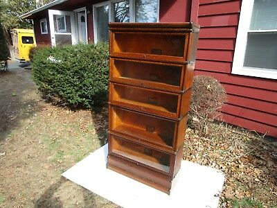 Antique Globe Wernicke 5 Stack C-1910 299 Grade Oak Barrister Stacking Bookcase