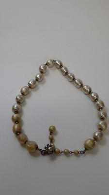 Vintage Miriam Haskell Baroque Pearl Necklace Signed Flower Clasp Choker A/F