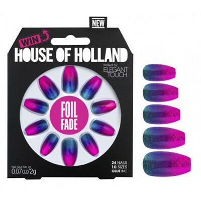 House of Holland Elegant Touch Foil Fade nails Christmas party grunge stick on