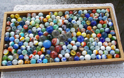 LOT Vintage Antique Glass Marbles Shooters Swirls Colors Ribbons German Cat Eyes