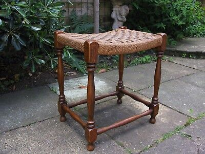 Charming Edwardian Solid Oak and Rattan Foot Stool - Antique, Vintage