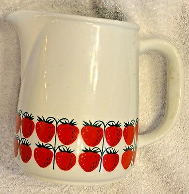 "Vintage Arabia Finland Pamona Strawberry  Ounce Pitcher Jug 6"" tall"