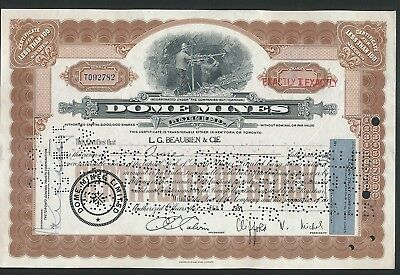 1951 Dome Mines Stock Certificate