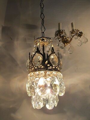Antique Vintage Basket Style Mini Chandelier lamp 1940s 5,6 in dmtr -----------