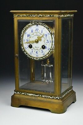 Antique Bigelow Kennard & Co French Champleve Brass & Beveled Glass Mantle Clock