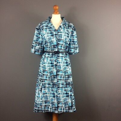 Vintage 70s Turquoise Navy Blue White Check Print Belted Shirt Dress 18 20