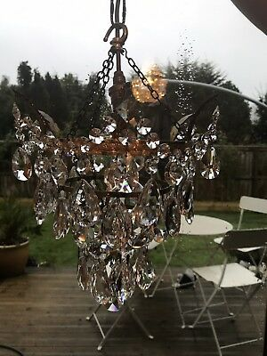 Old Beautiful Cascading Crystal/glass/brass Chandelier Light W/light Bulb Hold