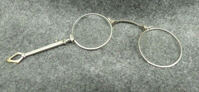 Vintage Antique Silver Plated Folding Eye Glasses Lorgnette Opera Art Deco