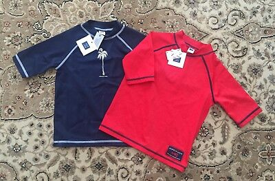 NWT Janie and Jack Boys 2T Swim Shirt Rash Guard Lot of 2
