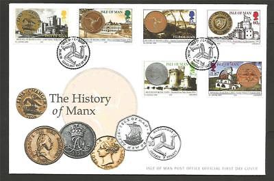 GB IOM ISLE of MAN 2010 HISTORY MANX COINS FDC COVER CASTLES