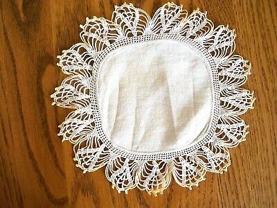 Antique Hand Crocheted Doily Elaborate Loop Pattern on Sackcloth, Small Unique