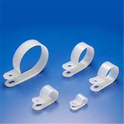 "(100 Pcs) R-Type 3/8"" NYLON CABLE CLAMPS, White"