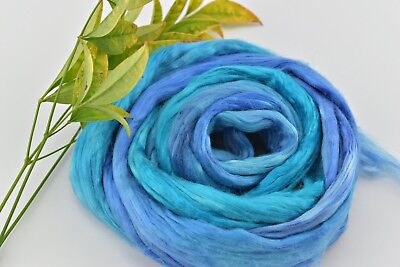 Mulberry Silk Roving Fibre felting spin hand dyed Blue Opal Mix 20g 12086