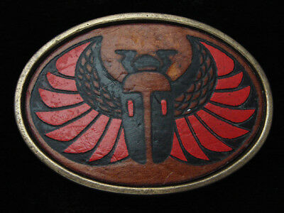 QK09142 VINTAGE 1970s **SCARAB** EGYPTIAN ARTWORK LEATHER SOLID BRASS BUCKLE