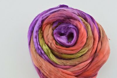 Mulberry Silk Roving Fibre felting spin hand dyed Multi Mix 20g 12090