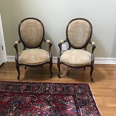 """PAIR OF ANTIQUE LOUIS 15th ARMCHAIRS, """"Medallion Back"""", French"""
