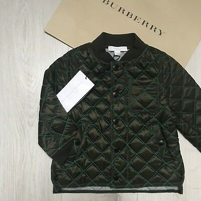 BNWT Gorgeous Boys BURBERRY Coat 18m Olive Green Quilted RRP £180  100%Genuine