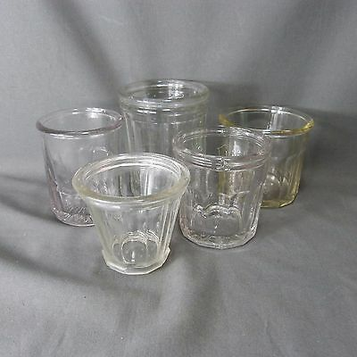 Vintage Antique French Set of 5 Chunky Glass Jam Pot Jelly Jar