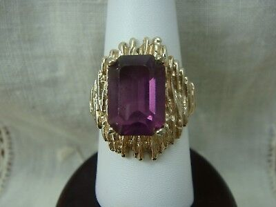 Vintage 1970's Purple Crystal Rhinestone Abstract Gold Tone Ring Size 8.75