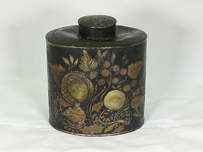 Antique Early Colonial Tole Ware Tin Tea Caddy