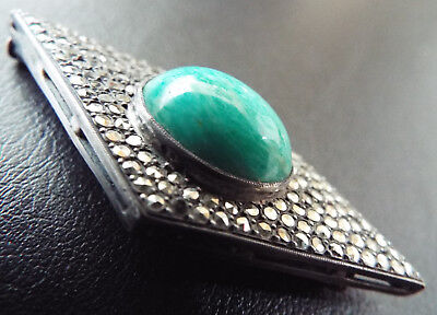 Superb Vintage French ART DECO Sterling Silver Marcasite Turquoise Brooch