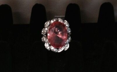 Fashion Ring Size 8 Pink Stone with faux Diamonds