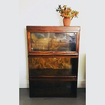 Antique Globe Wernicke oak stacking / modular glass fronted bookcase