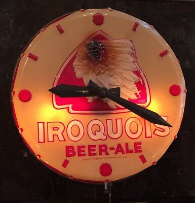 Antique 50's Iroquois Beer-Ale Tan Red Indian Drum Clock Light Sign WORKS! RARE