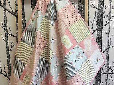Baby Girl Pink & Gold Hand Made Patchwork Cot / Toddler Quilt