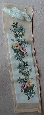Floral Pettipoint vintage double mesh Needlepoint bell pull Canvas + wool yarn