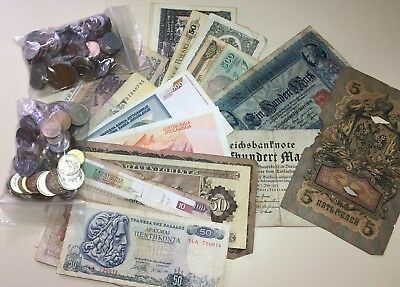 10 lots of mixed Foreign Coin & mixed Paper Currency OLD MONEY