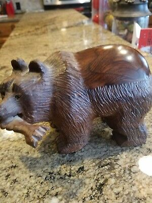 Hand Carved Mahagony Bear with Fish in Mouth Figurine