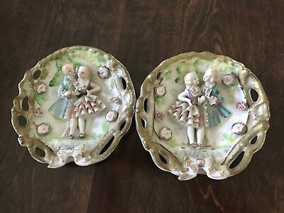 two OLD VINTAGE BONE CHINA LACE WALL PLAQUEs COUPLE HAND PAINTED