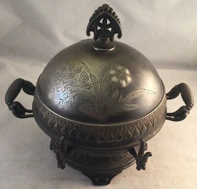 Antique Wilcox Silverplate Domed Butter Dish W/Handles #3272 Asian Woman W/Cow