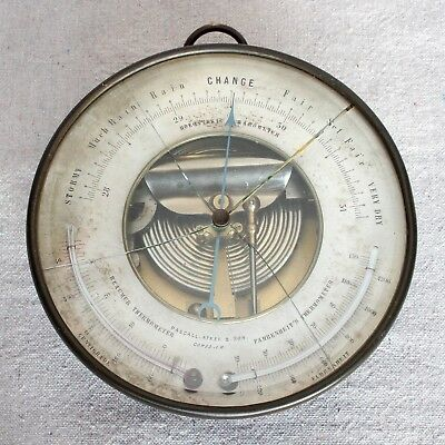 Antique Nautical Brass PBHN Pascall Atkey Cowes Holosteric Barometer Thermometer