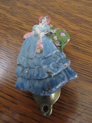 Hard to Find Vintage Crinoline Lady Painted Brass Small Cupboard Door Knocker